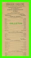 PROGRAMMES - PROGRAM - THÉÂTRE DE LA PORTE SAINT-MARTIN DE PARIS EN 1928 - PRINCESS THEATRE - - Programmes