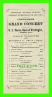 PROGRAMMES - PROGRAM - BOSTON MUSIC HALL, 1875 - GRAND CONCERT GIVEN BY U. S. MARINE BAND OF WASHINGTON - - Programmes