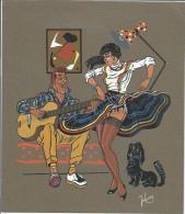 Gouache Originale Signé Johnny Années 50 Sur Canson  Danseuse Et Joueur De Guitare - Gouaches