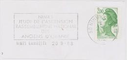 FRANCE. FRAGMENT POSTMARK NIMES. 1988. FLAMME - Marcofilia (sobres)