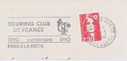 FRANCE. FRAGMENT POSTMARK PARIS 1990. TOURING CLUB. FLAMME - Marcofilia (sobres)