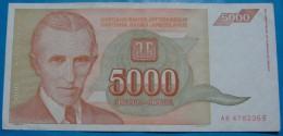 YUGOSLAVIA 5,000 DINARA 1993, VF+, PICK-.128 - Yougoslavie