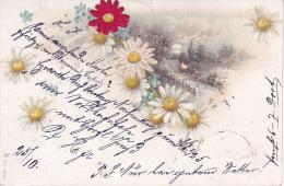 AK Künstlerkarte Mit Landschaft Und Blumen - Aufgeklebte Stoffblüten - 1900 (20448) - Ansichtskarten