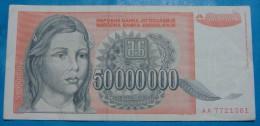 YUGOSLAVIA 50,000,000 DINARA 1993, Vf, PICK-.123. - Yougoslavie