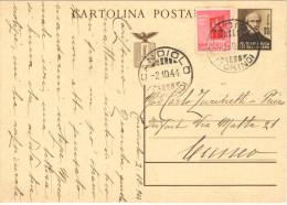 04) R.S.I. INTERO POSTALE MAZZINI DA 30 C. 1944 VIAGGIATO - 4. 1944-45 Repubblica Sociale