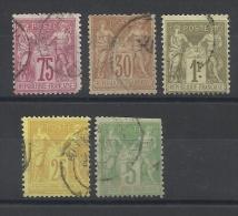 FRANCE - LOT DE 5 TIMBRES OBLITERES - TYPE SAGE - POUR ETUDE DES VARIETES DE PIQUAGE - 1876/98 - COTE YT: 28.00€