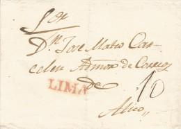 G)1840 PERU, LIMA LINEAL RED CANC., 10 REALES MANUSCRIPT, CIRCULATED COVER TO ATICO, INTERNAL USAGE, XF - Peru