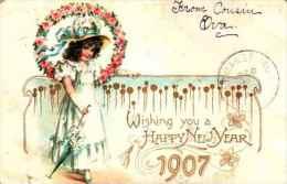 Année Date Millesime - 1907 - Fillette Robe Blanche Dans Un Cercle De Roses (tuck) - Gaufrée Embossed - New Year