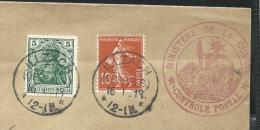 Lettre Avec  Germania (Allemagne) Et N° 135(Semeuse Camée) Obl:Illzach 16/01/1919 + Obl: Ministère De La Guerre - Brieven En Documenten