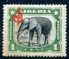 Liberia 1906. - 1c Overprinted MNH** XVF Elephant - Liberia