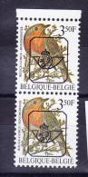 BELGIQUE BUZIN COB PREO 822 P7a **, 1 ROUGE ET 1 ORANGE EN PAIRE VERTICALE .  (3PO64) - 1985-.. Oiseaux (Buzin)