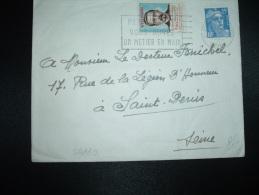 LETTRE TP MARIANNE DE GANDON 15F + VIGNETTE CONTRE LA TUBERCULOSE VILLEMIN OBL.MEC. 1955 ST OUEN SUR SEINE - Covers