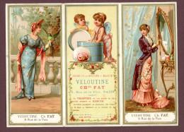 Paris, Chromo Lith. Testu & Massin TM14-60, Triptyque, Publicité Veloutine Ch. Faÿ, Jeunes Femmes Romantiques Et Anges - Chromos