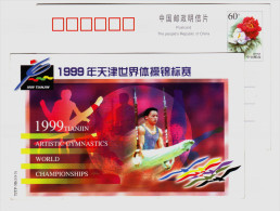 Male Rings Event,China 1999 Tianjin World Gymnastics Championships Advertising Pre-stamped Card - Gymnastics