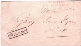 """1816- Lettre En Franchise \"""" POSTES / PRES LE GOUVERNEMENT + MONSIEUR Encadré - Postmark Collection (Covers)"""