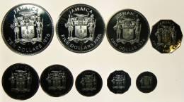 GIAMAICA SERIE 9 MONETE 1976 FONDO SPECCHIO - Giamaica