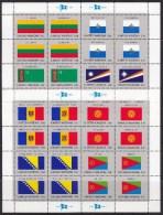UN - United Nations New York Flag Stamp 1999 (Mi.nos 797-804) Complete Set 2 Sheets MNH - New York - Hoofdkwartier Van De VN