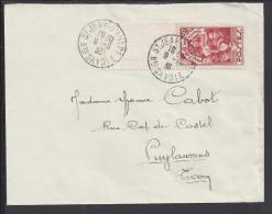 FR - 1936 - N° 312 SEUL SUR ENVELOPPE DE St JEAN D'AULPH VERS PUYLAURENS - - Postmark Collection (Covers)