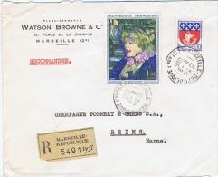 FRrec-L2 - FRANCE N° 1426 La Serveuse De Toulouse Lautrec Sur Lettre Recommandée De Marseille Pour Reims - Frankreich