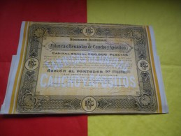 FABRICAS REUNIDAS DE CAUCHO Y APOSITOS (1920) BARCELONE,ESPAGNE - Hist. Wertpapiere - Nonvaleurs