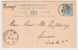 "Singapore, 1889 "" SINGAPORE "" , Stationary 3 C. Blue , # 4504 - Singapur (...-1959)"