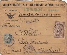 """1906- Lettre """"La Colombe"""" Chargé CaD Vesoul (Haute-Saone) >> Descriptif De Chargement - Postmark Collection (Covers)"""