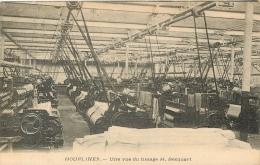HOUPLINES UNE VUE DU TISSAGE H. BECQUART  CACHET AU VERSO CARTE ENVOYEE AUX TISSUS COUSSAUD A PONT D´AGRIS - France