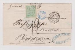 Am. Uruguay Montevideo 1874-10-22 Brief Hülle Nach La Bastide Bordeaux Mit Schiffstempel - Uruguay