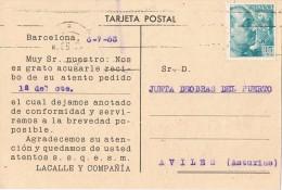 15937. Tarjeta Comercial Privada BARCELONA 1953. Correas Y Gomas - 1931-Hoy: 2ª República - ... Juan Carlos I