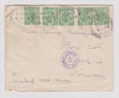 Indien 1917-01-05 Zensur Brief Nach Norwegen - Inde