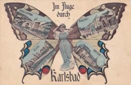 IM FLUGE DURCH KARLSBAD : PHOTOMONTAGE - SURRÉALISME / SURREALISM : FEMME-PAPILLON / BUTTERFLY-LADY ~ 1910 (s-889 - Autriche