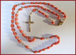 Chapelet Ancien Crucifix Métal Doré Corail 45 Cm Catholique Médaille Religieuse Etat TTB - Religion & Esotérisme