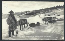 NORVEGE - HAMMERFEST- Carte Photo ( Pliée )  Rennes Et Traineau En 1932 - Voir Scans - Lot P14002 - Norway