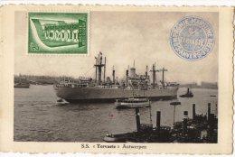 CONGO PAQUEBOT  TERVAETE  - Courrier De Haute Mer Vers Belgium + Gff Encadrée PAQUEBOT De Matadi - PAQ - 1947-60: Lettres