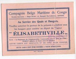 CONGO PAQUEBOT  ELISABETHVILLE PERMIS ASSISTER Au DEPART - PAQ - 1947-60: Lettres