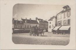 CPA PHOTO 95 MARINES Place Du Marché Commerces Au Bon Marché Hôtel De Paris Passage De La Diligence Chevaux 1904 Rare - Marines