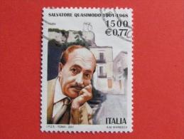 ITALIA USATI 2001 - SALVATORE QUASIMODO - SASSONE 2555 - RIF. G 1903 LUSSO - 6. 1946-.. Repubblica