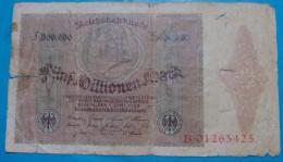 GERMANY 5 MILLIONEN MARK 1923, VG - [ 3] 1918-1933 : Repubblica  Di Weimar