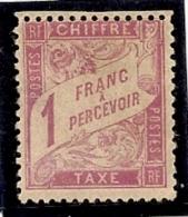 France Taxe 1 Franc Rose N° 39 Avec Charniére Signé Brun , Beau Timbre Rare ... - 1859-1955 Neufs