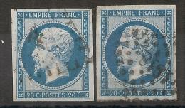 4 MARGES, 2 Exemplaires Du 20c Napoléon III Type II N° 14 B. Cote : 12 EUR. L3 - Marcophily (detached Stamps)