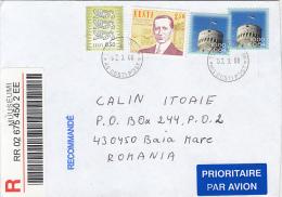 33113- COAT OF ARMS, GUGLIELMO MARCONI, TOWER, STAMPS ON REGISTERED COVER, 2008, ESTONIA - Estland