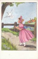 Carte Postale Fantaisie Des Années 50 - Illustrée Par Calvet-Rognier? - Fillette - Cachet Au Dos - Illustrateurs & Photographes