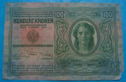 AUSTRIA 100 KRONEN 1912, WITHOUT D.O. SEAL, AXF, CRISP PAPER, TEAR - Austria