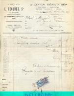 Factuur Facture - Alcools - L. Becquet - La Madeleine Lille 1925 - Alimentaire