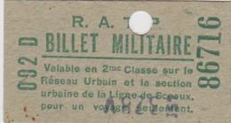 BILLET TICKET  PARIS  RATP Billet Militaire Ligne De Sceaux - Metropolitana