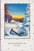 Voeux °° Noël - Sapins Et Maison Enneigés - Encart Vierge Toilé 11x17 - Noël