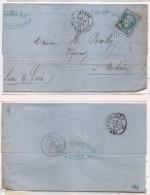 Lettre (LAC) Adressée De PARIS A AMBOISE - Cachet Etoile 17 Sur Yvert 29  (Bleu Pale)    (82829) - 1863-1870 Napoléon III Lauré
