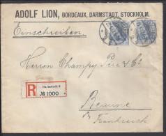 ALLEMAGNE - 1907 -  ENVELOPPE DE DARMSTADT EN RECOMMANDE VERS BEAUNE - FR - - Germany