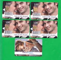 SLOVENIA    5x Phonecard 100 Impulz Telekom Slovenije Lepo Je Biti Skupaj - Slovenia