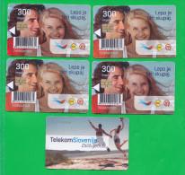 SLOVENIA    5x Phonecard 300 Impulz Telekom Slovenije Lepo Je Biti Skupaj - Slovenia